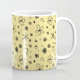 Vintage Inspired Canary Yellow Floral Pattern Coffee Mug