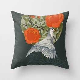 The bird and red flowers Throw Pillow