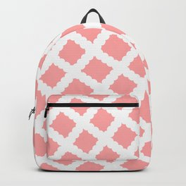 Coral Pink & White Diagonal Grid Pattern - Black & Pink - Mix & Match with Simplicity of Life Backpack