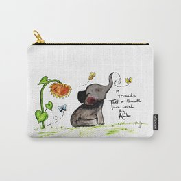 Friends are Loved by All - Baby Elephant Sunflower Butterflies Art by Annette Bailey Carry-All Pouch