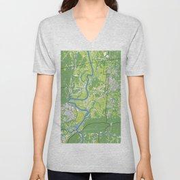Pioneer Valley map Unisex V-Neck