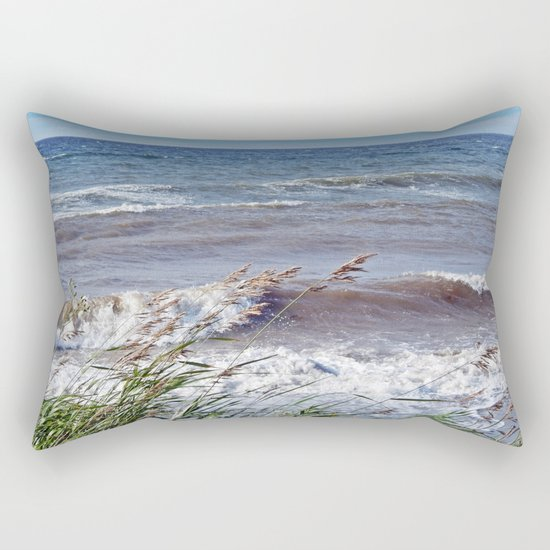 Waves Rolling up the Beach Rectangular Pillow