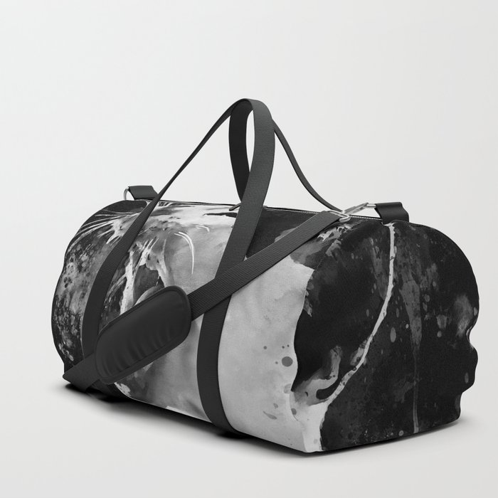 evil cat mouth wide open splatter watercolor black white Duffle Bag