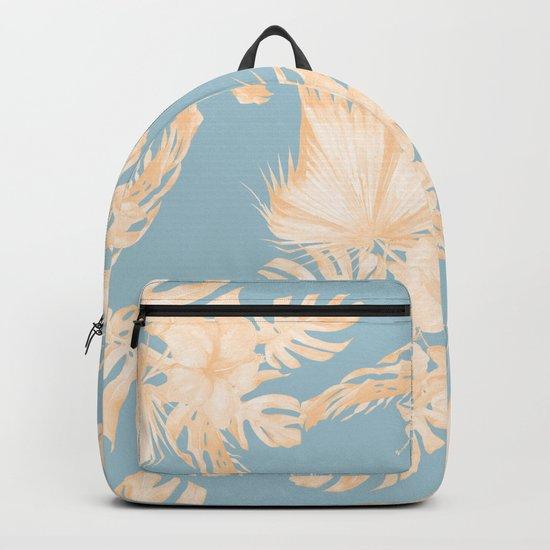 Island Vacation Hibiscus Palm Mango Sky Blue Backpack