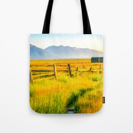 Grand Teton National Park Prairie Home Print Tote Bag