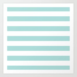Aqua Blue and White Stripes Art Print