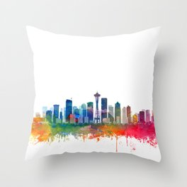 Seattle City Skyline Watercolor by Zouzounio Art Throw Pillow