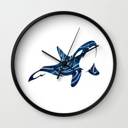 Tribal Orca 2 (blue) Wall Clock