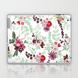 Abstract red pastel green pink country floral pattern Laptop & iPad Skin