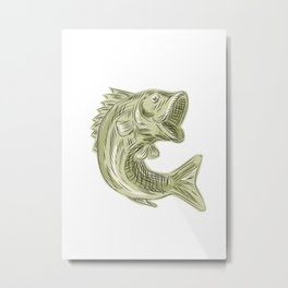 Largemouth Bass Fish Etching Metal Print