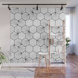 Peacock comb black white geometric pattern Wall Mural