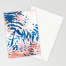 Tropical palms blue and coral Stationery Cards