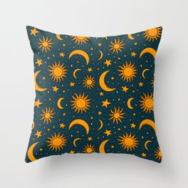 Vintage Sun and Star Print in Navy Throw Pillow