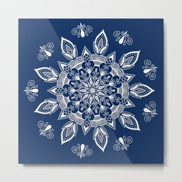 RB Mandala Design with botanical elements Metal Print