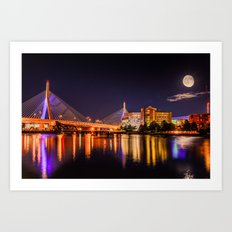 Moon light over Zakim bridge Art Print