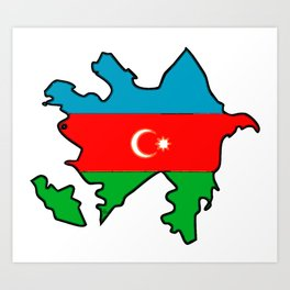 Azerbaijan Map with Azeri Azerbaijani Flag Art Print