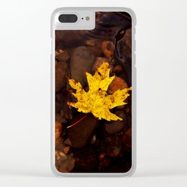 Autumn leaf (yellow) Clear iPhone Case