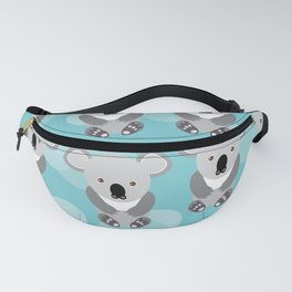 koala Seamless pattern with funny cute animal on a blue background Fanny Pack