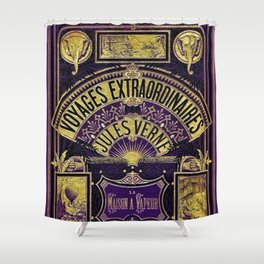 Jules Verne Voyages Extraordinaire Purple Lithographic Print by Jeanpaul Ferro Shower Curtain