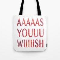 princess bride Tote Bags featuring As You Wish Princess Bride by FayeJay