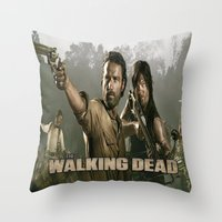 the walking dead Throw Pillows featuring Walking Dead by store2u