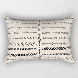 Vintage white modern black bohemian aztec pattern Rectangular Pillow