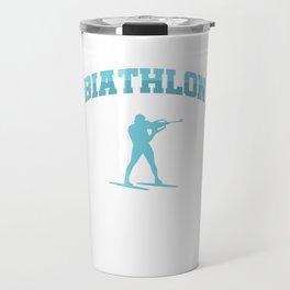 Biathlon Sport Winter Sports Rifle Shooting Skiing Iceskate Gift Travel Mug