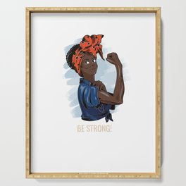 Strong black African Woman Fighting Female Afro-American Design Serving Tray