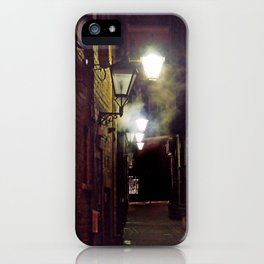vintage lamplight - foggy alleyway iPhone Case