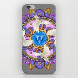 BLUE CHAKRA MANDALA WITH WHITE DOVES& PURPLE-GREY ART iPhone Skin