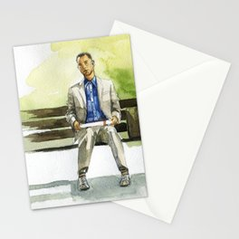 Forrest Gump (Tom Hanks) sitting on a bench with a flying feather Stationery Cards