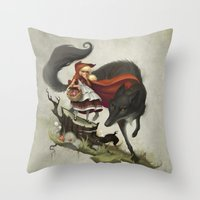 """evil Throw Pillows featuring """"Unto an evil counsellor, close heart and ear and eye..."""" by Dave E. Phillips"""