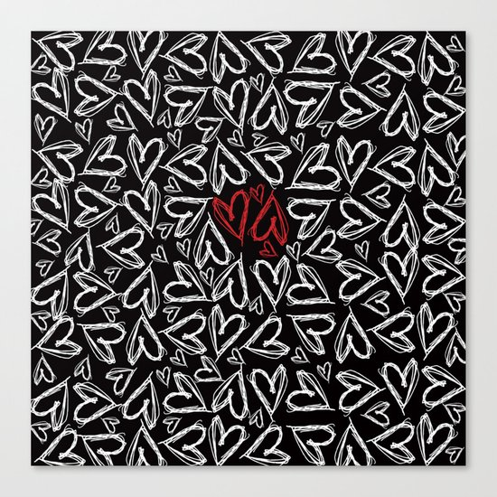 Hearts drawn with chalk Canvas Print