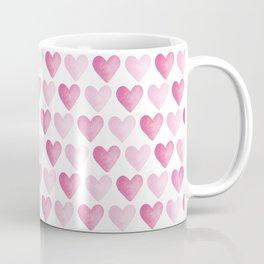 Pink Watercolour Hearts pattern Coffee Mug