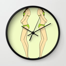 Brunette Twin Models Wall Clock