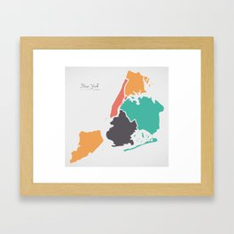 New York Map with boroughs and modern round shapes Framed Art Print