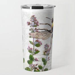 Cottage Style Thyme, Bumble Bee, Hummingbird, Herbal Botanical Illustration Travel Mug