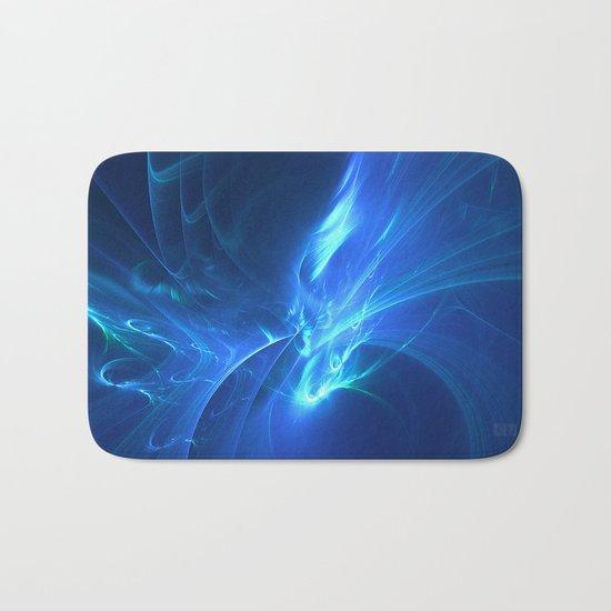 Electric Blue Fractal Bath Mat