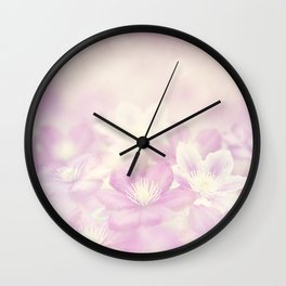 clematis flowers for background, soft focus Wall Clock