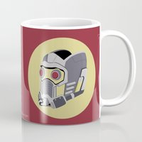 guardians of the galaxy Mugs featuring  Starlord's Helmet - Guardians of the Galaxy by Matt Dunne