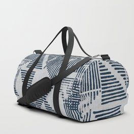 Stripe Triangle Geometric Block Print Pattern in Blue Grey Duffle Bag