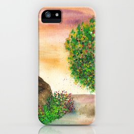Countryside Watercolor Illustration iPhone Case