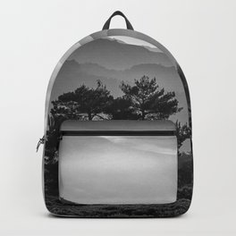 Misty mountains. Sierra Nevada. BW Backpack