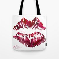 lipstick Tote Bags featuring Lipstick by D. Renee Wilson