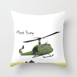 Huey Helicopter in Vietnam Throw Pillow