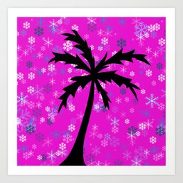 Palm Tree and Snowflakes Art Print