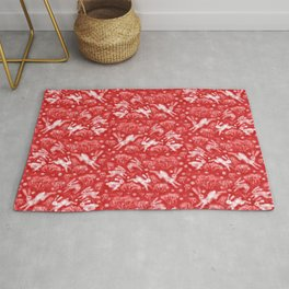 Hares in Snow Field, Winter Animals, Scarlet Red White Rug