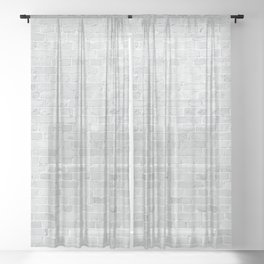 White Washed Brick Wall Stone Cladding Sheer Curtain