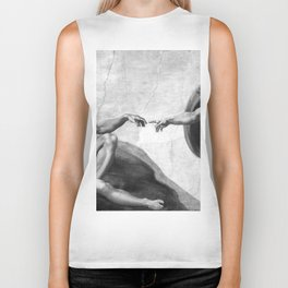 Black and White Creation of Adam Painting by Michelangelo Sistine Chapel Biker Tank