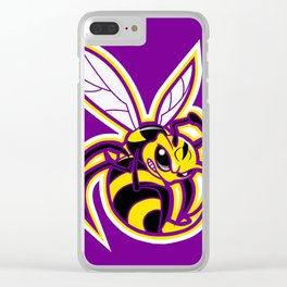 bee mascot yellow purple Clear iPhone Case